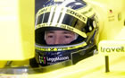 Heinz-Harald Frentzen - Jordan / Sitting in car with helmet looking at monitor in Friday Practice