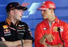 Jos Verstappen(Arrows), Michael Schumacher(Ferrari) / Talking during Thirsday Press Conference