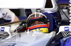 Juan Pablo Montoya - Williams / Sitting in car with helmet looking at monitor in Saturday Qualifying