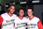 Michael Schumacher(Ferrari), Ronaldo & Zico / Posing for benefit football match