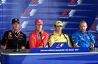 Jos Verstappen(Arrows), Michael Schumacher(Ferrari), Jarno Trulli(Jordan, Mike Gascoyne(Prost) / Sitting and wait for Thursday Press Conference